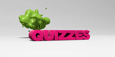 QUIZZES - 3D rendered colorful headline illustration.  Can be used for an online banner ad or a print postcard.