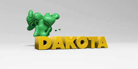 DAKOTA - 3D rendered colorful headline illustration.  Can be used for an online banner ad or a print postcard.