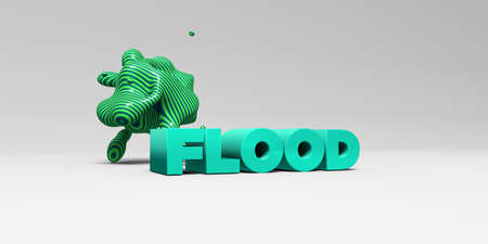 FLOOD - 3D rendered colorful headline illustration.  Can be used for an online banner ad or a print postcard.