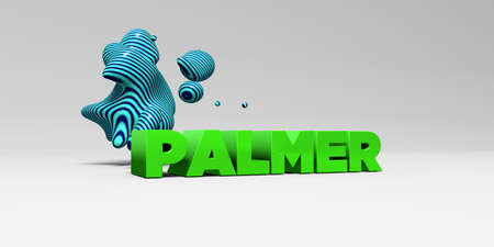 PALMER - 3D rendered colorful headline illustration.  Can be used for an online banner ad or a print postcard. Stock Photo