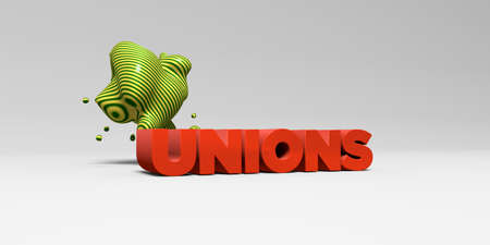 UNIONS - 3D rendered colorful headline illustration.  Can be used for an online banner ad or a print postcard.