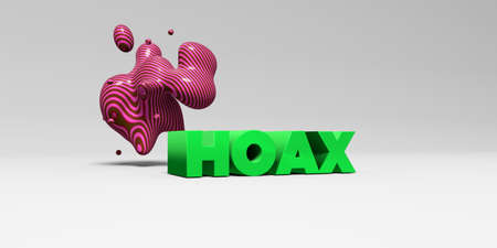 hoax: HOAX - 3D rendered colorful headline illustration.  Can be used for an online banner ad or a print postcard. Stock Photo