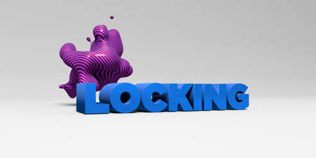 locking: LOCKING - 3D rendered colorful headline illustration.  Can be used for an online banner ad or a print postcard.