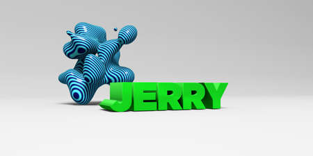 JERRY - 3D rendered colorful headline illustration.  Can be used for an online banner ad or a print postcard.