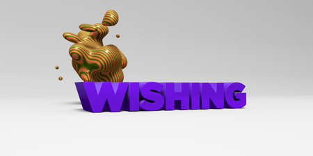 WISHING - 3D rendered colorful headline illustration.  Can be used for an online banner ad or a print postcard.