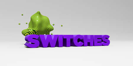 SWITCHES - 3D rendered colorful headline illustration.  Can be used for an online banner ad or a print postcard.