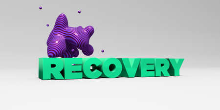 recovery: RECOVERY - 3D rendered colorful headline illustration.  Can be used for an online banner ad or a print postcard.