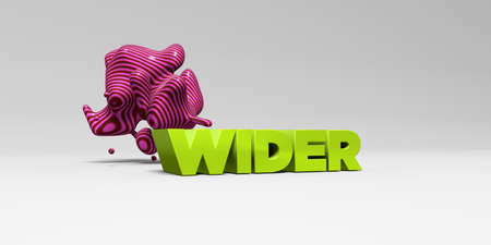 WIDER - 3D rendered colorful headline illustration.  Can be used for an online banner ad or a print postcard.