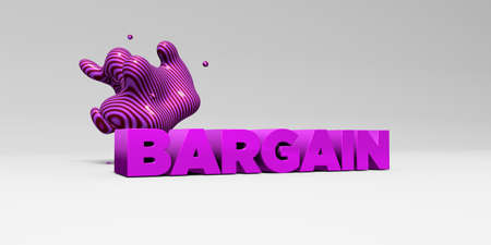 bargain for: BARGAIN - 3D rendered colorful headline illustration.  Can be used for an online banner ad or a print postcard.