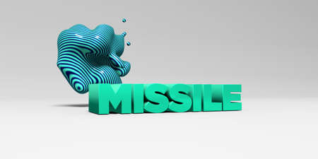 missile: MISSILE - 3D rendered colorful headline illustration.  Can be used for an online banner ad or a print postcard.