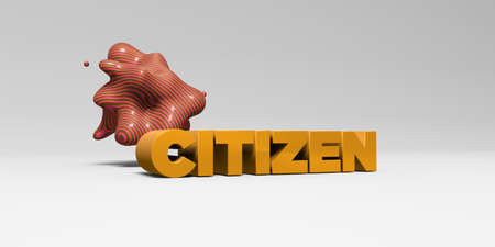 CITIZEN - 3D rendered colorful headline illustration.  Can be used for an online banner ad or a print postcard.