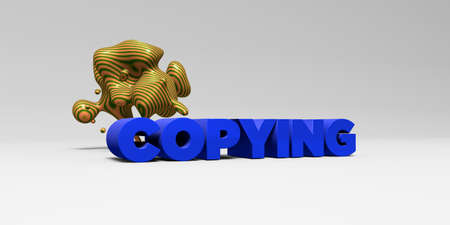 copying: COPYING - 3D rendered colorful headline illustration.  Can be used for an online banner ad or a print postcard.