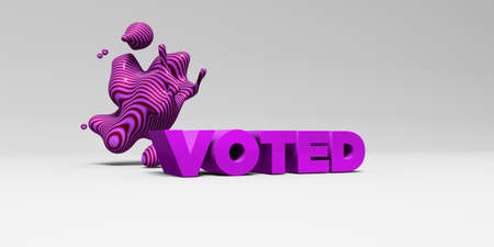 voted: VOTED - 3D rendered colorful headline illustration.  Can be used for an online banner ad or a print postcard.