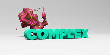 banner ad: COMPLEX - 3D rendered colorful headline illustration.  Can be used for an online banner ad or a print postcard.