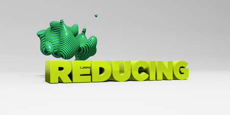 REDUCING - 3D rendered colorful headline illustration.  Can be used for an online banner ad or a print postcard.