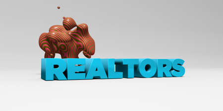 REALTORS - 3D rendered colorful headline illustration.  Can be used for an online banner ad or a print postcard.