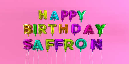 ecard: Happy Birthday Saffron card with balloon text - 3D rendered stock image. This image can be used for a eCard or a print postcard.