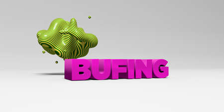BUFING - 3D rendered colorful headline illustration.  Can be used for an online banner ad or a print postcard.