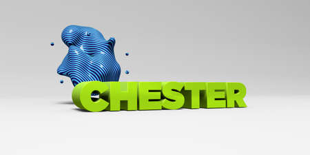 chester: CHESTER - 3D rendered colorful headline illustration.  Can be used for an online banner ad or a print postcard.