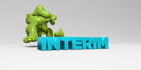 interim: INTERIM - 3D rendered colorful headline illustration.  Can be used for an online banner ad or a print postcard. Stock Photo