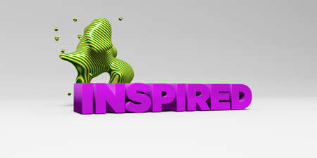 inspired: INSPIRED - 3D rendered colorful headline illustration.  Can be used for an online banner ad or a print postcard. Stock Photo