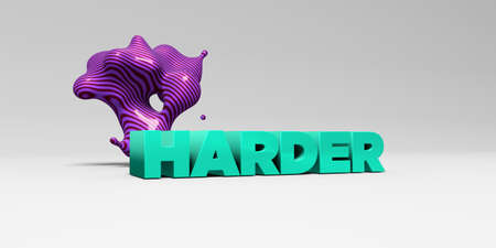 HARDER - 3D rendered colorful headline illustration.  Can be used for an online banner ad or a print postcard.