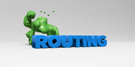 routing: ROUTING - 3D rendered colorful headline illustration.  Can be used for an online banner ad or a print postcard.