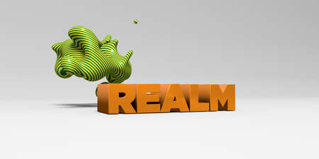 realm: REALM - 3D rendered colorful headline illustration.  Can be used for an online banner ad or a print postcard.