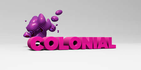 colonial: COLONIAL - 3D rendered colorful headline illustration.  Can be used for an online banner ad or a print postcard.