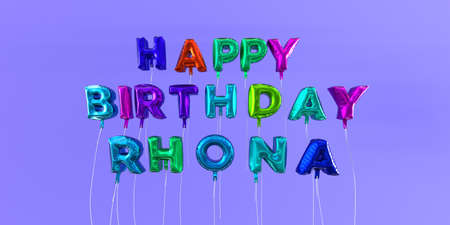 Happy Birthday Rhona card with balloon text - 3D rendered stock image. This image can be used for a eCard or a print postcard. Stock Photo