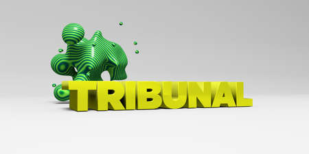 TRIBUNAL - 3D rendered colorful headline illustration.  Can be used for an online banner ad or a print postcard. Stock Photo