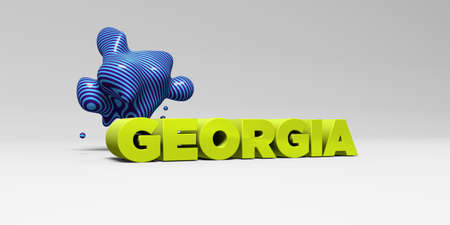 banner ad: GEORGIA - 3D rendered colorful headline illustration.  Can be used for an online banner ad or a print postcard. Stock Photo