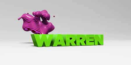 WARREN - 3D rendered colorful headline illustration.  Can be used for an online banner ad or a print postcard.