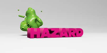HAZARD - 3D rendered colorful headline illustration.  Can be used for an online banner ad or a print postcard.