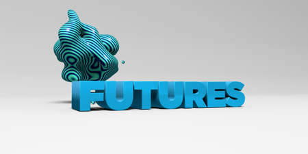 futures: FUTURES - 3D rendered colorful headline illustration.  Can be used for an online banner ad or a print postcard.