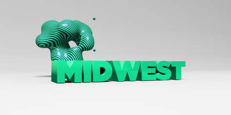 midwest: MIDWEST - 3D rendered colorful headline illustration.  Can be used for an online banner ad or a print postcard. Stock Photo