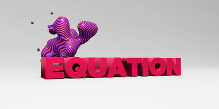 equation: EQUATION - 3D rendered colorful headline illustration.  Can be used for an online banner ad or a print postcard. Stock Photo