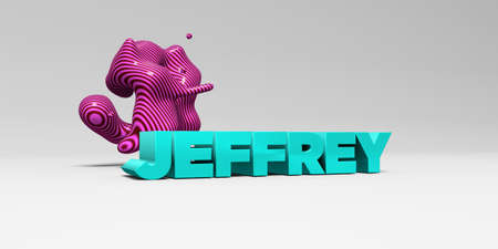 jeffrey: JEFFREY - 3D rendered colorful headline illustration.  Can be used for an online banner ad or a print postcard.