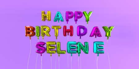 생일 풍선 텍스트 -3D 렌더링 된 재고 이미지와 함께 Selene 카드. 이 이미지는 eCard 또는 인쇄 엽서에 사용할 수 있습니다.