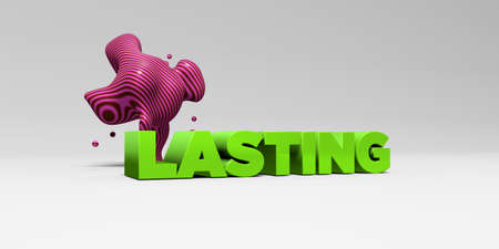 LASTING - 3D rendered colorful headline illustration.  Can be used for an online banner ad or a print postcard.
