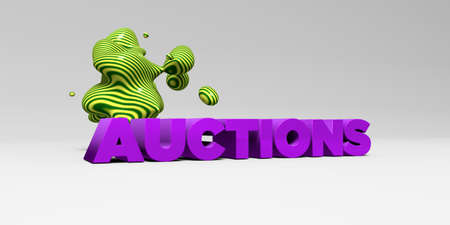 AUCTIONS - 3D rendered colorful headline illustration.  Can be used for an online banner ad or a print postcard.
