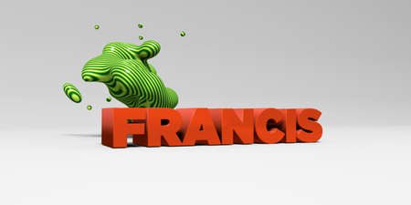 francis: FRANCIS - 3D rendered colorful headline illustration.  Can be used for an online banner ad or a print postcard.