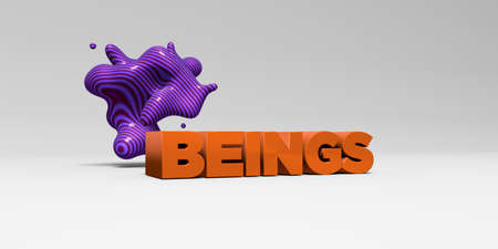 beings: BEINGS - 3D rendered colorful headline illustration.  Can be used for an online banner ad or a print postcard. Stock Photo