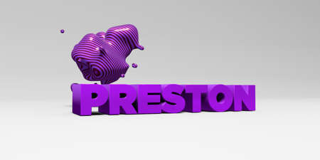sentence typescript: PRESTON - 3D rendered colorful headline illustration.  Can be used for an online banner ad or a print postcard. Stock Photo