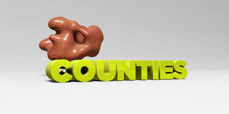 counties: COUNTIES - 3D rendered colorful headline illustration.  Can be used for an online banner ad or a print postcard.