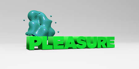 pleasure: PLEASURE - 3D rendered colorful headline illustration.  Can be used for an online banner ad or a print postcard.