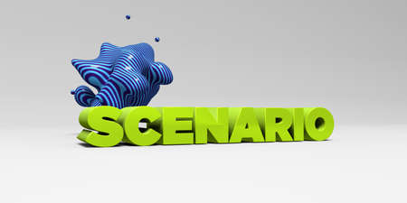 SCENARIO - 3D rendered colorful headline illustration.  Can be used for an online banner ad or a print postcard.