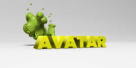 AVATAR - 3D rendered colorful headline illustration.  Can be used for an online banner ad or a print postcard. Stock Photo