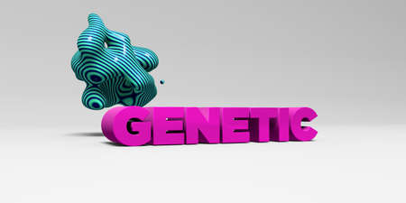 GENETIC - 3D rendered colorful headline illustration.  Can be used for an online banner ad or a print postcard.