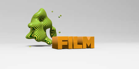 film title: FILM - 3D rendered colorful headline illustration.  Can be used for an online banner ad or a print postcard.